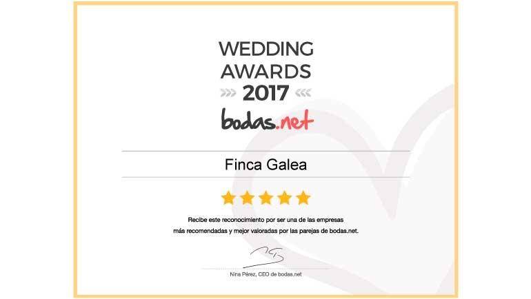 Finca Galea Restaurante recibe el reconocimiento Wedding Awards 2017 de Bodas.net